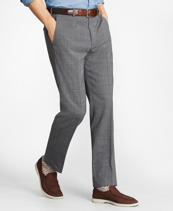 Regent Fit BrooksCool® Micro-Check Trousers Grey
