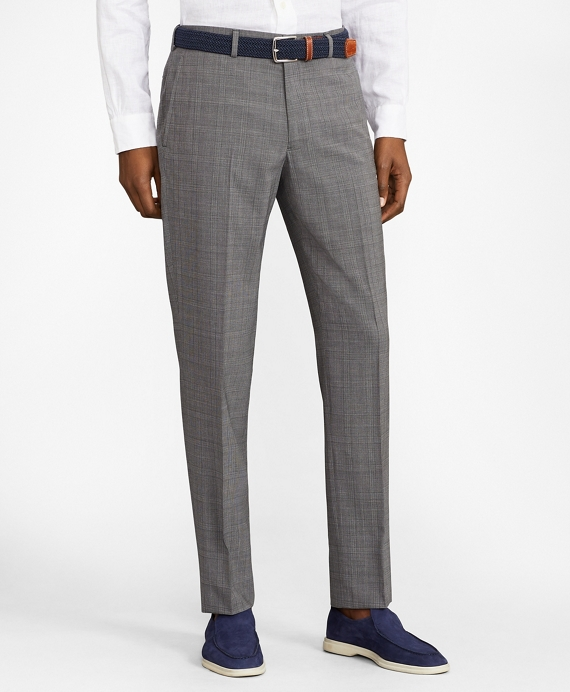 Milano Fit BrooksCool® Micro-Check Trousers Grey