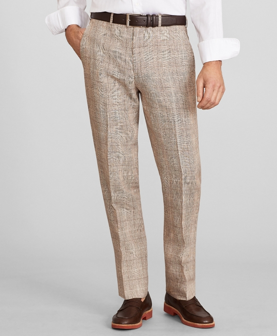 Madison Fit Check Linen Trousers Beige