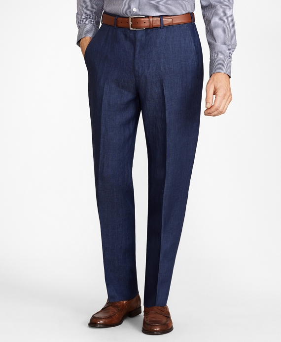 Madison Fit Herringbone Linen Trousers Navy