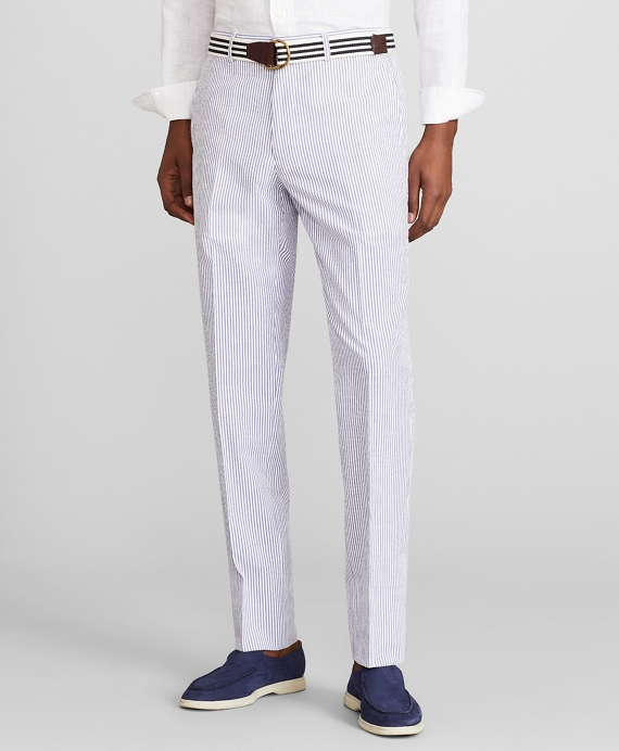 Milano Fit Stripe Seersucker Trousers Blue-White