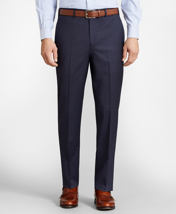 BrooksFlex™ Regent-Fit Wool Trousers, Unfinished Hem Blue