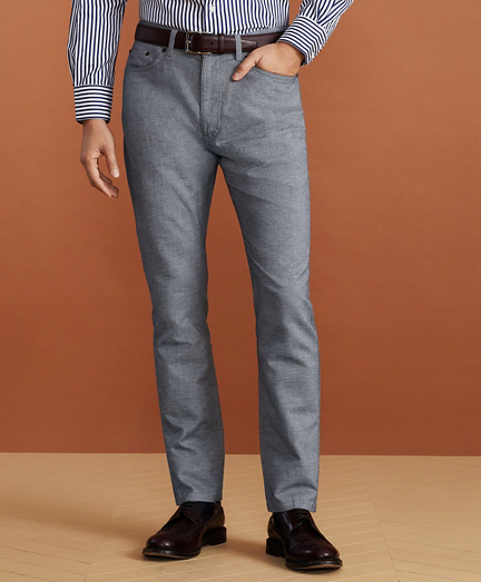 Golden Fleece® Five-Pocket Stretch Cotton-Linen Trousers