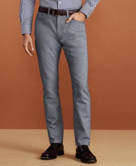 Golden Fleece® Five-Pocket Stretch Cotton-Linen Trousers Blue