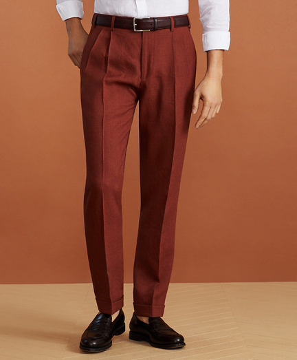 Golden Fleece® Linen Pleated Chino Trousers