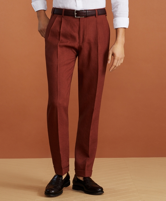 Golden Fleece® Linen Pleated Chino Trousers Rust