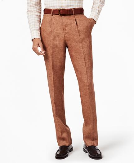 Regent Fit Single-Pleat Linen Trousers
