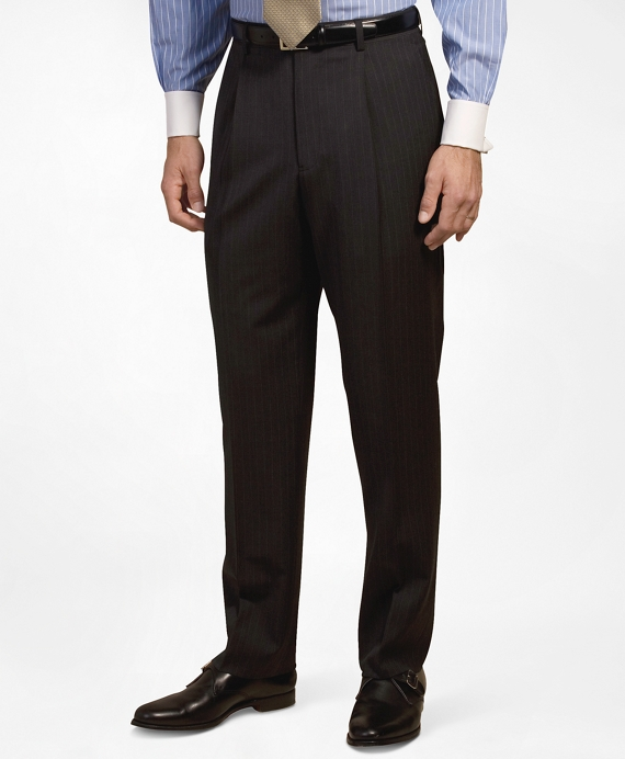 Pleat-Front Suiting Essential Stripe Trousers Dark Grey