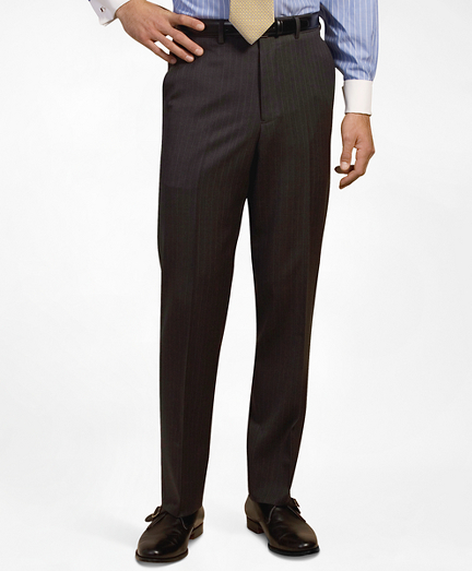 Plain-Front Suiting Essential Stripe Trousers