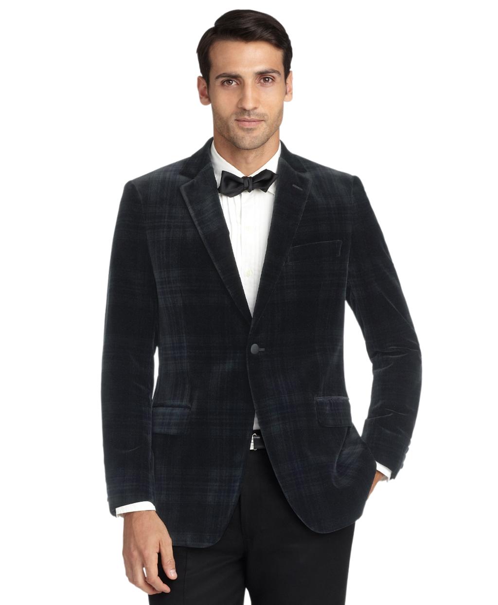 New Vintage Tuxedos, Tailcoats, Morning Suits, Dinner Jackets Brooks Brothers Mens Fitzgerald Fit Velvet Blackwatch Tuxedo Jacket $898.00 AT vintagedancer.com