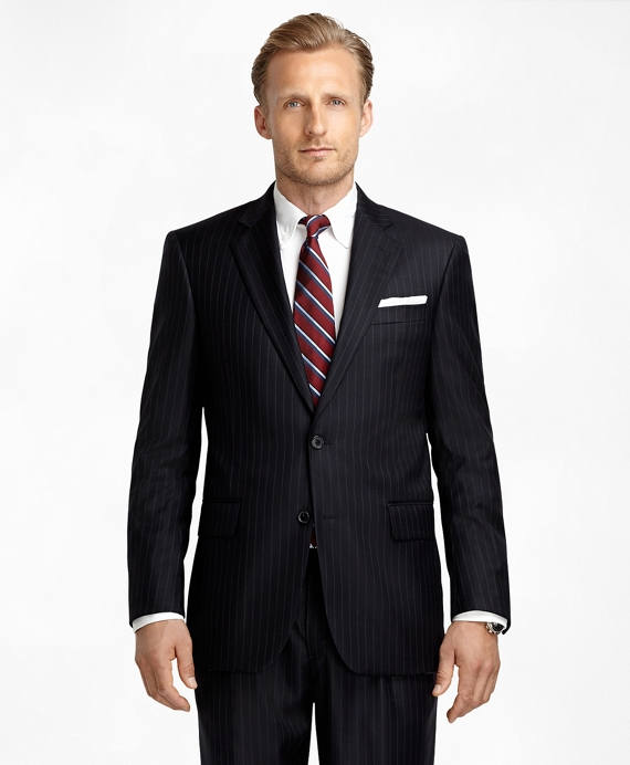 Madison Fit Saxxon™ Wool Blue and White Alternating Stripe 1818 Suit Navy