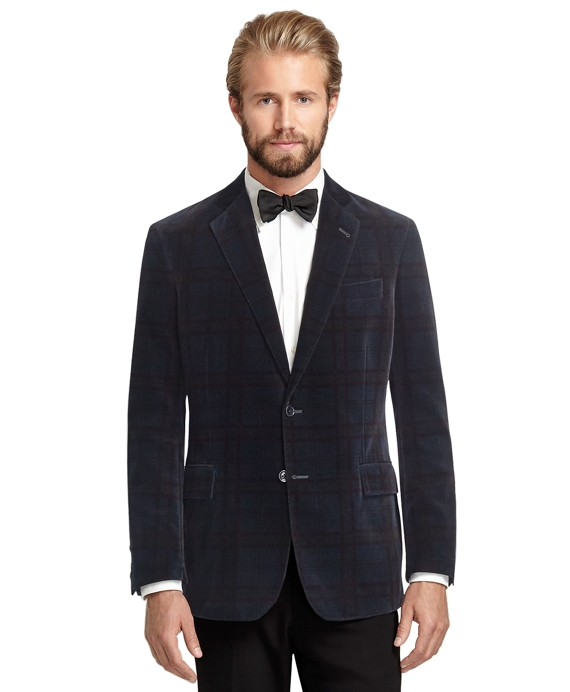 33d3a0654f77d5 Men's Slim Fit Navy Blue Tartan Velvet Dinner Jacket | Brooks Brothers