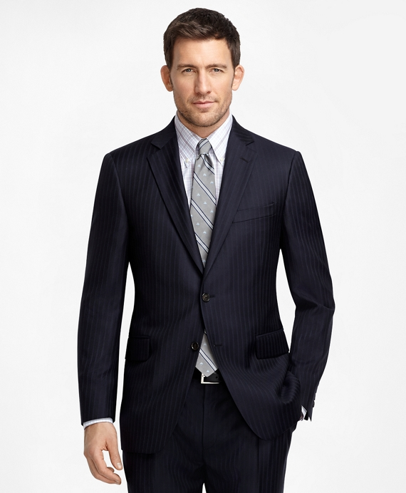 Madison Fit Navy with Light Blue Pinstripe 1818 Suit Navy