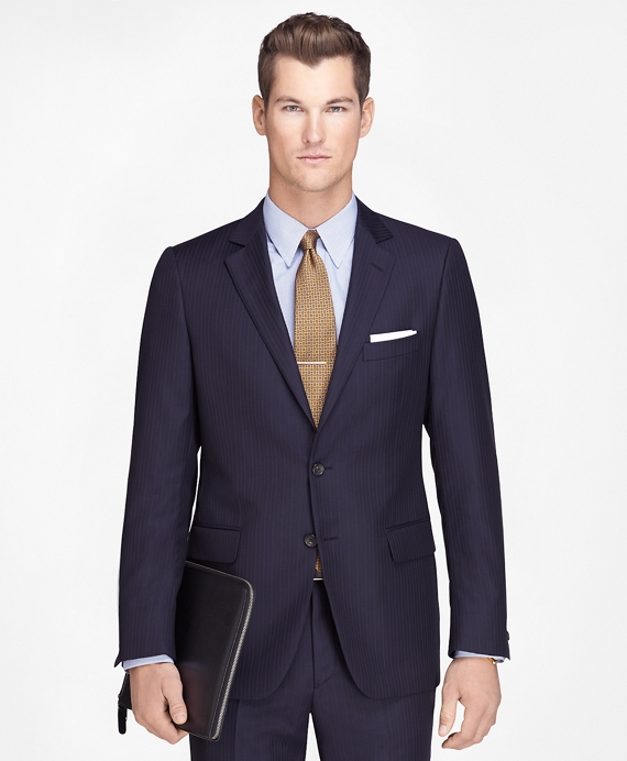 Fitzgerald Fit Wool Navy with Blue Stripe 1818 Suit Navy