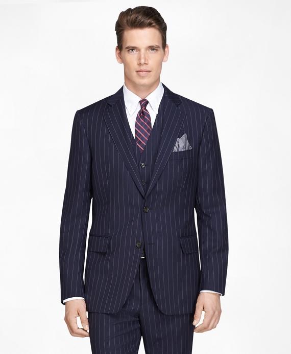 Regent Fit Navy Bold Stripe Three-Piece 1818 Suit Navy