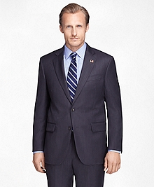 Madison Fit Saxxon Wool Charcoal Blue Stripe 1818 Suit