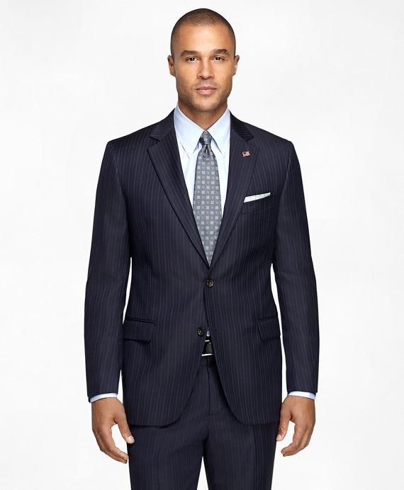 Fitzgerald Fit Saxxon™ Wool Stripe 1818 Suit Navy