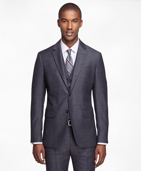 Milano Fit Three-Piece Houndstooth 1818 Suit Charcoal