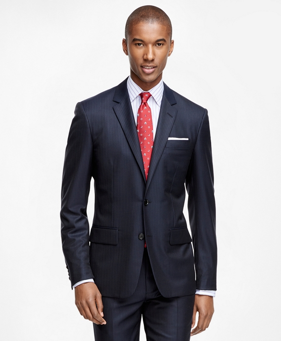 Milano Fit Golden Fleece® Wool Alternating Stripe Suit Navy
