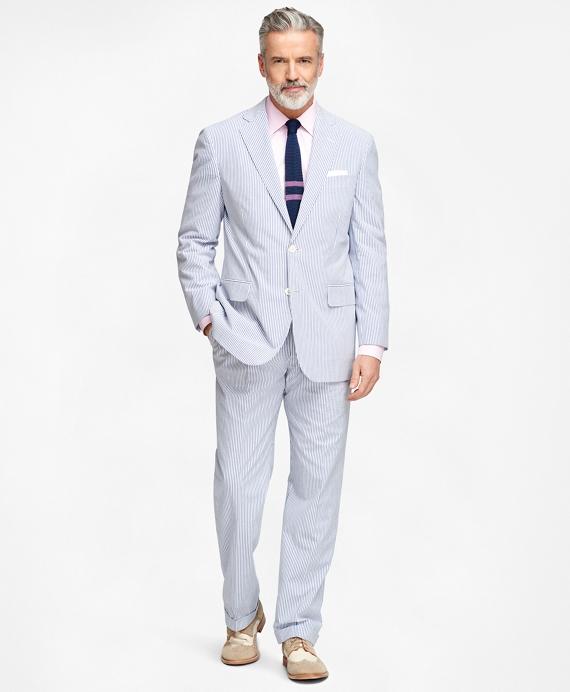 Men S Regular Fit Blue Striped Seersucker Suit Brooks