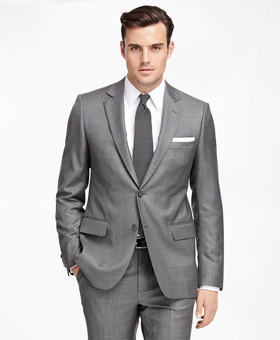 Fitzgerald Fit Saxxon™ Wool Sharkskin 1818 Suit Grey