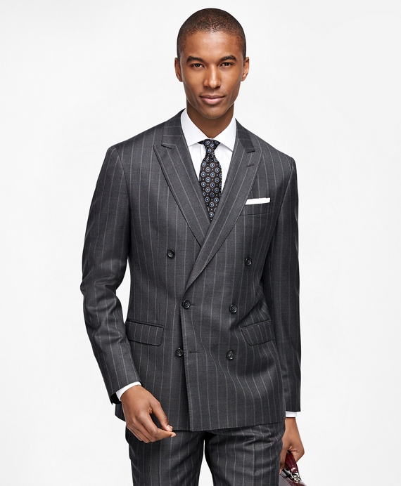Milano Fit Wide Stripe 1818 Suit Charcoal