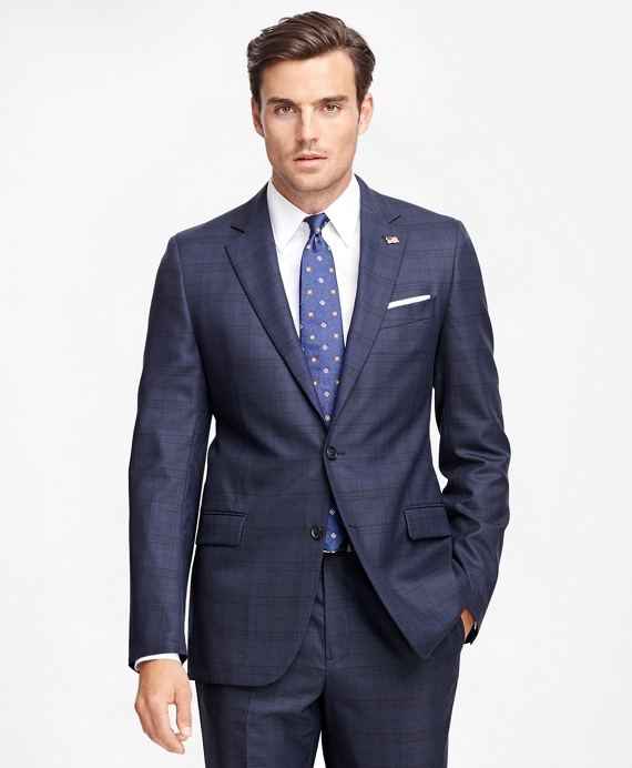 Fitzgerald Fit Saxxon™ Wool Blue Plaid 1818 Suit Blue