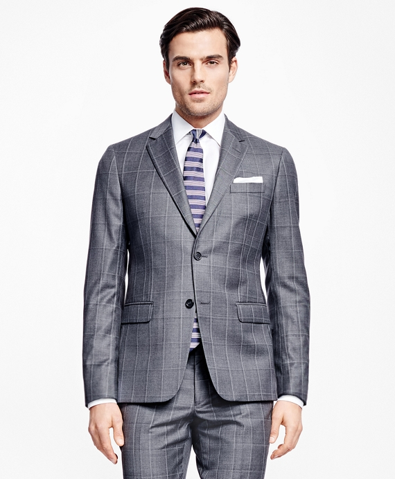 Milano Fit Multi Windowpane 1818 Suit Grey