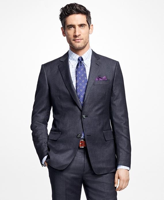 Regent Fit Textured Stripe 1818 Suit Grey