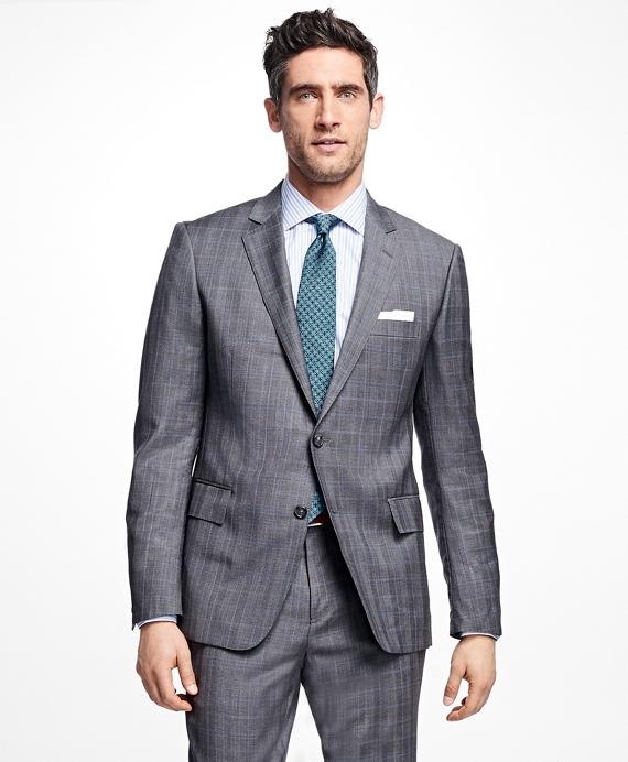 Regent Fit Mini Plaid 1818 Suit Grey