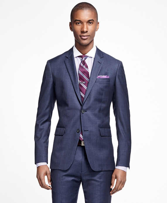 Milano Fit Sharkskin with Windowpane 1818 Suit Blue