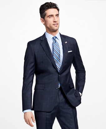 Regent Fit Saxxon Wool Plaid with Windowpane 1818 Suit