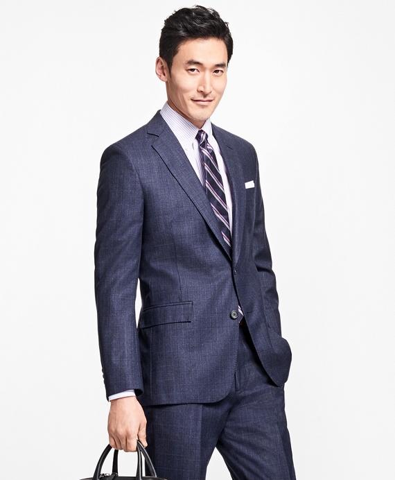 Regent Fit Multi-Windowpane 1818 Suit Blue
