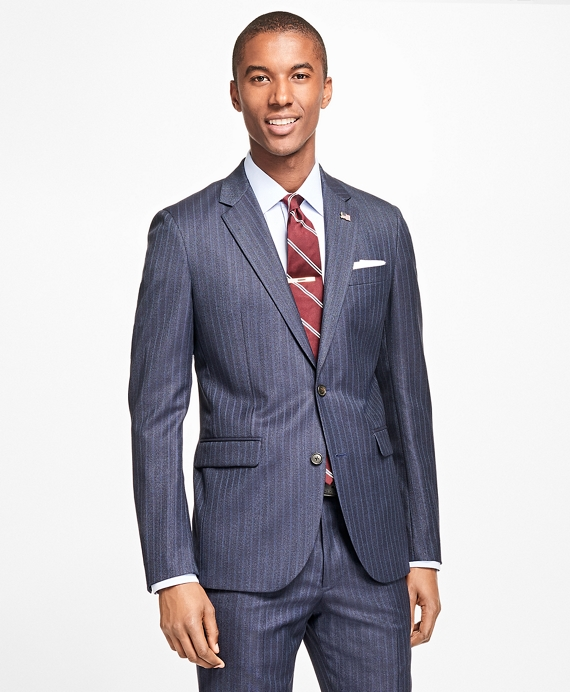 Milano Fit Textured Track Stripe 1818 Suit Blue
