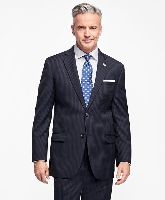 Madison Fit Saxxon™ Wool Narrow Double Pinstripe 1818 Suit Navy