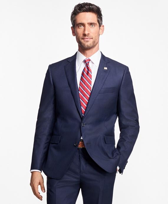 Regent Fit Saxxon™ Wool Stripe 1818 Suit Blue