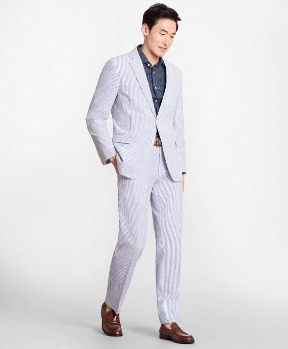 Regent Fit Stripe Seersucker Suit Blue-Ivory