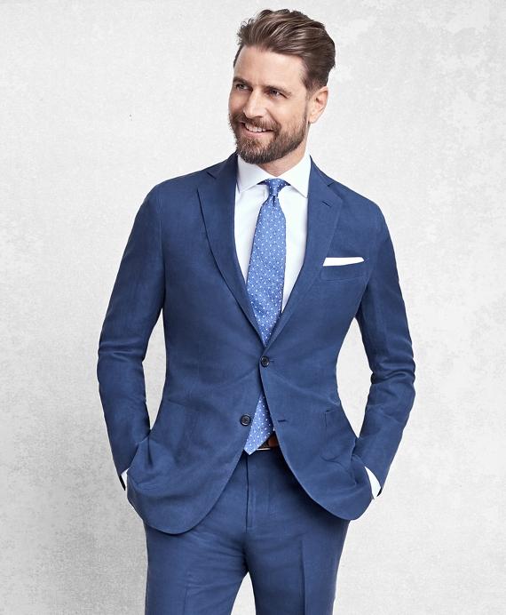 Golden Fleece® BrooksCloud™ Blue Silk and Linen Twill Suit Blue
