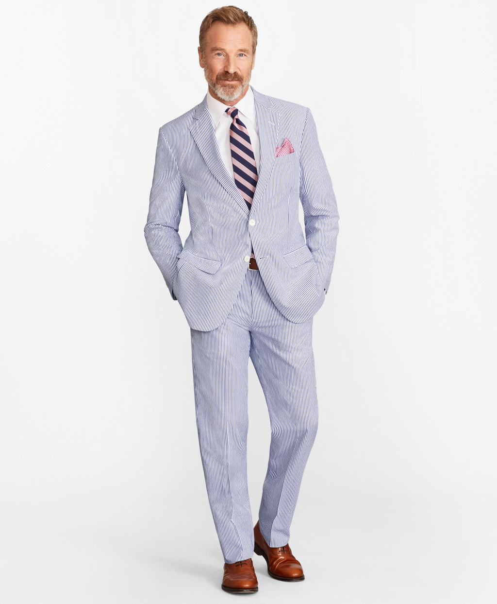 Men's Vintage Style Suits, Classic Suits Brooks Brothers Mens Regular Fit Stripe Seersucker Suit $373.50 AT vintagedancer.com
