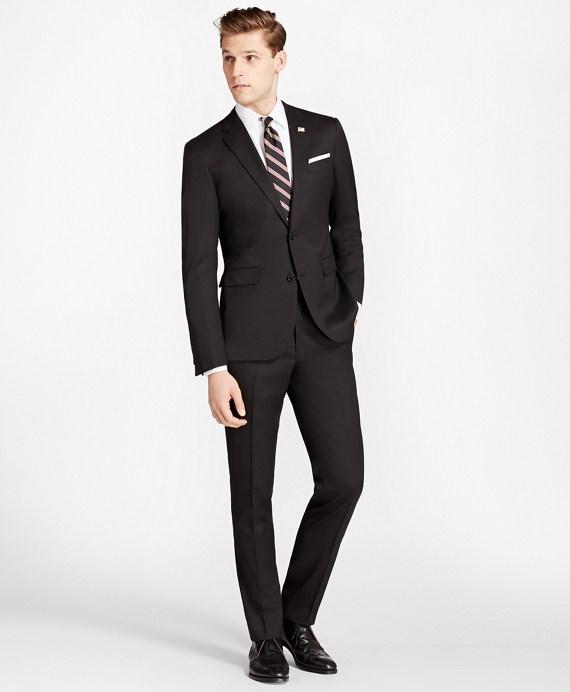 Milano Fit Stretch Wool Two-Button 1818 Suit Black