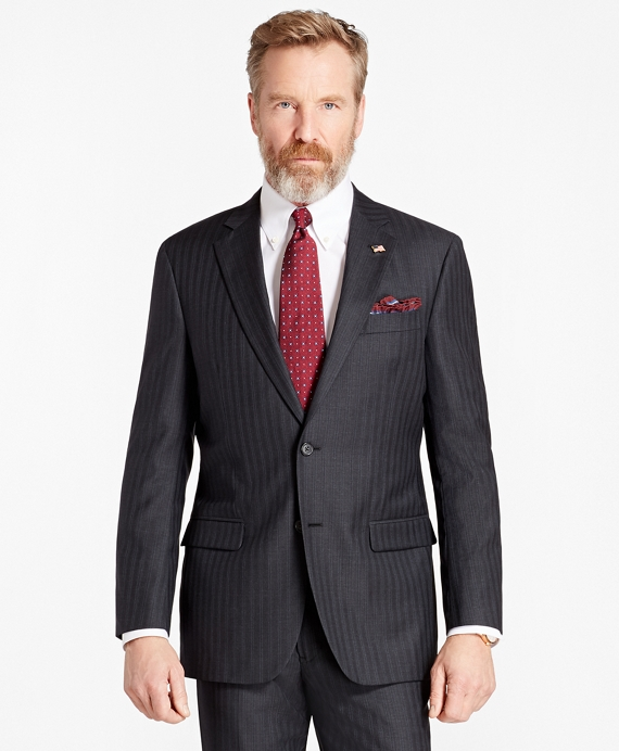 Madison Fit Double-Stripe 1818 Suit Charcoal