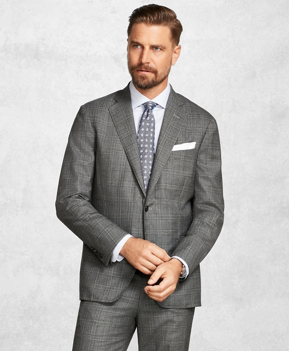Golden Fleece® BrooksCloud™ Medium Grey Plaid Suit Grey