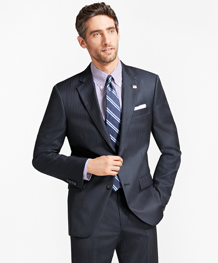 Madison Fit Saxxon Wool Tic with Stripe 1818 Suit