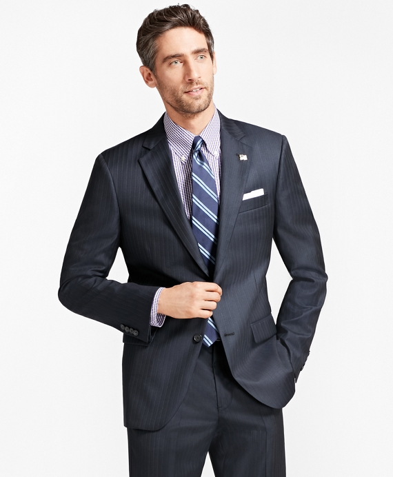 Madison Fit Saxxon™ Wool Tic with Stripe 1818 Suit Navy