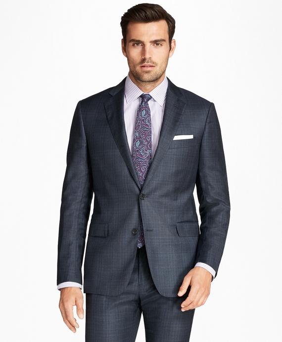 Regent Fit Saxxon™ Wool Plaid 1818 Suit Blue