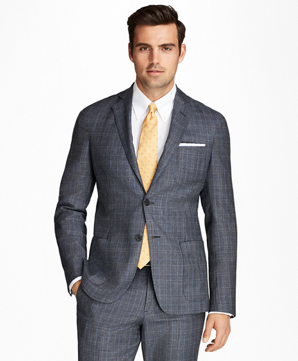Regent Fit BrooksCloud™ Flannel Plaid with Windowpane 1818 Suit