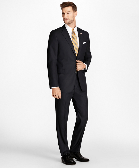 Regent Fit Blue Herringbone 1818 Suit Navy