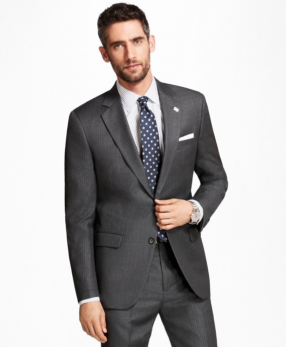 Madison Fit Alternating Stripe 1818 Suit Grey
