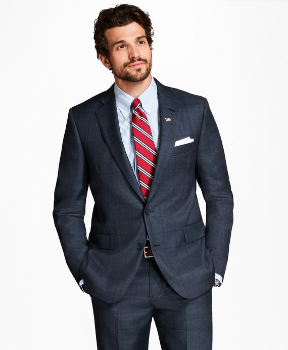 Regent Fit Plaid 1818 Suit Charcoal-Blue