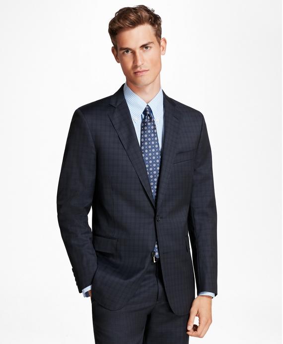 Regent Fit Mini-Plaid 1818 Suit Navy